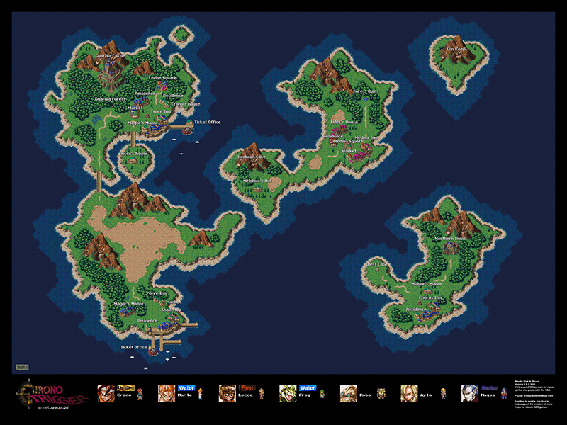 NA Chrono Trigger Overworld Posters For Sale - World map posters for sale