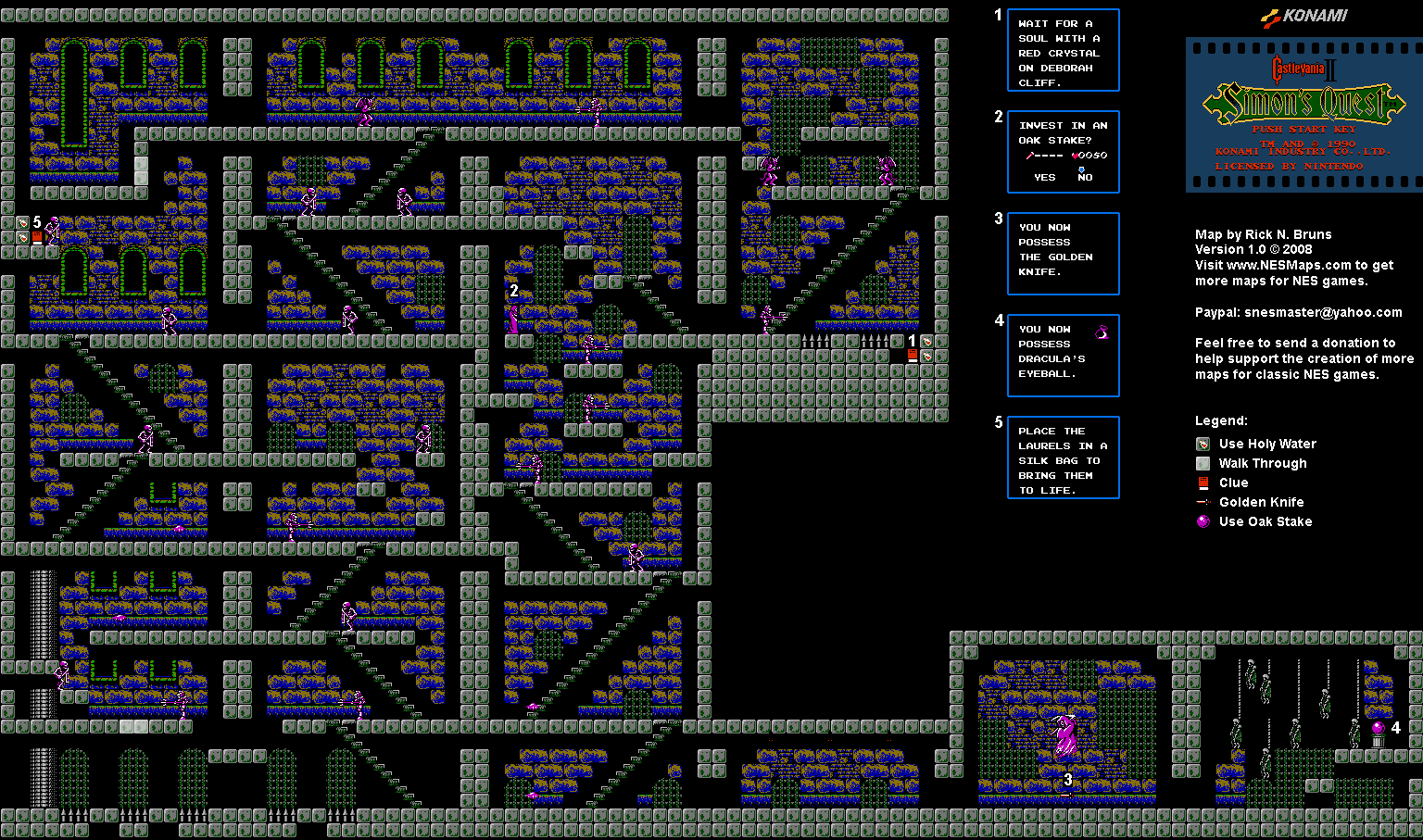 Castlevania Ii Simon S Quest Castle 3 Brahm S Mansion Map