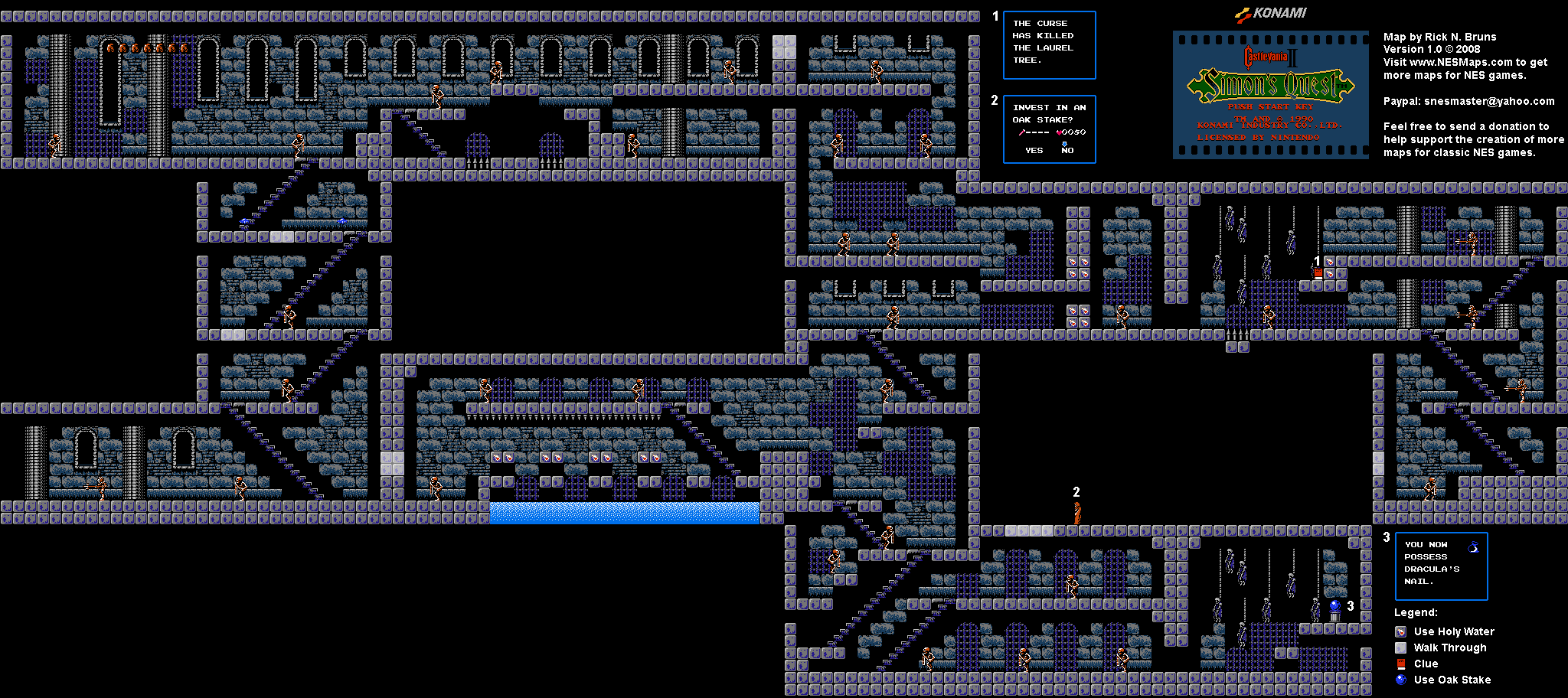 Castlevania World Map.Castlevania Ii Simon S Quest Map Selection Labeled Maps