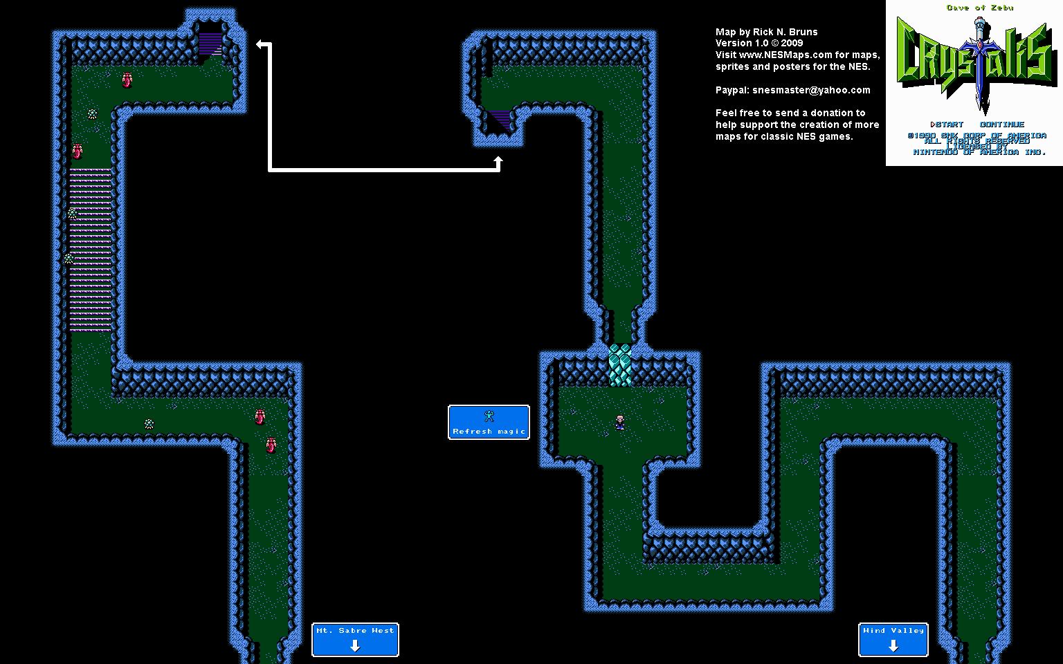 Crystalis - Cave of Zebu Nintendo NES Map: www.nesmaps.com/maps/Crystalis/CrystalisMap03.html