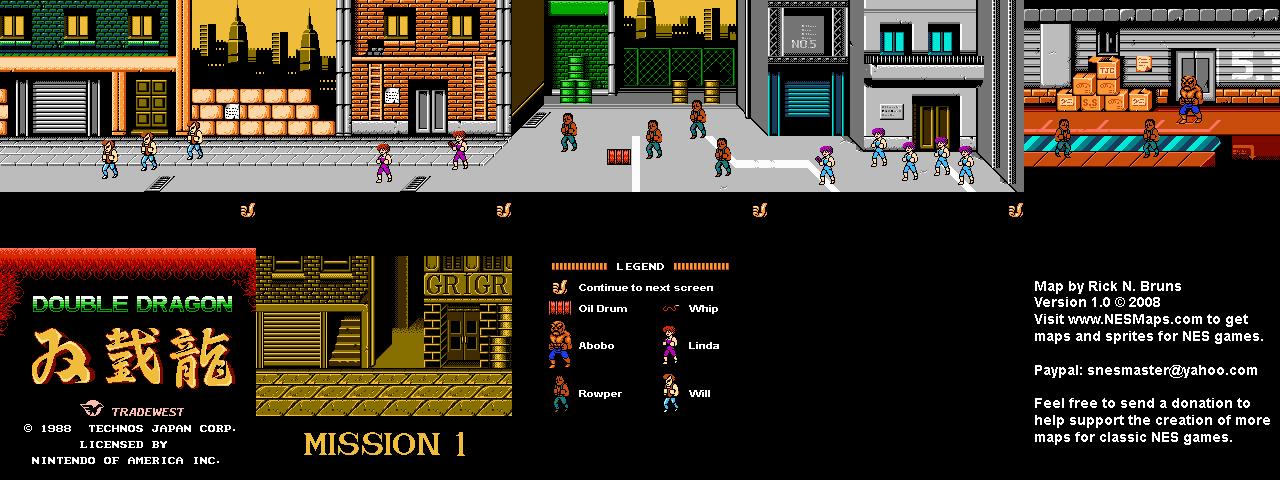 Double Dragon - Mission 1 Nintendo NES Map