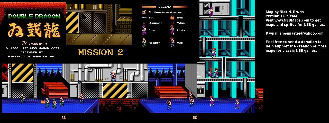 Double Dragon - Mission 2 Nintendo NES Map