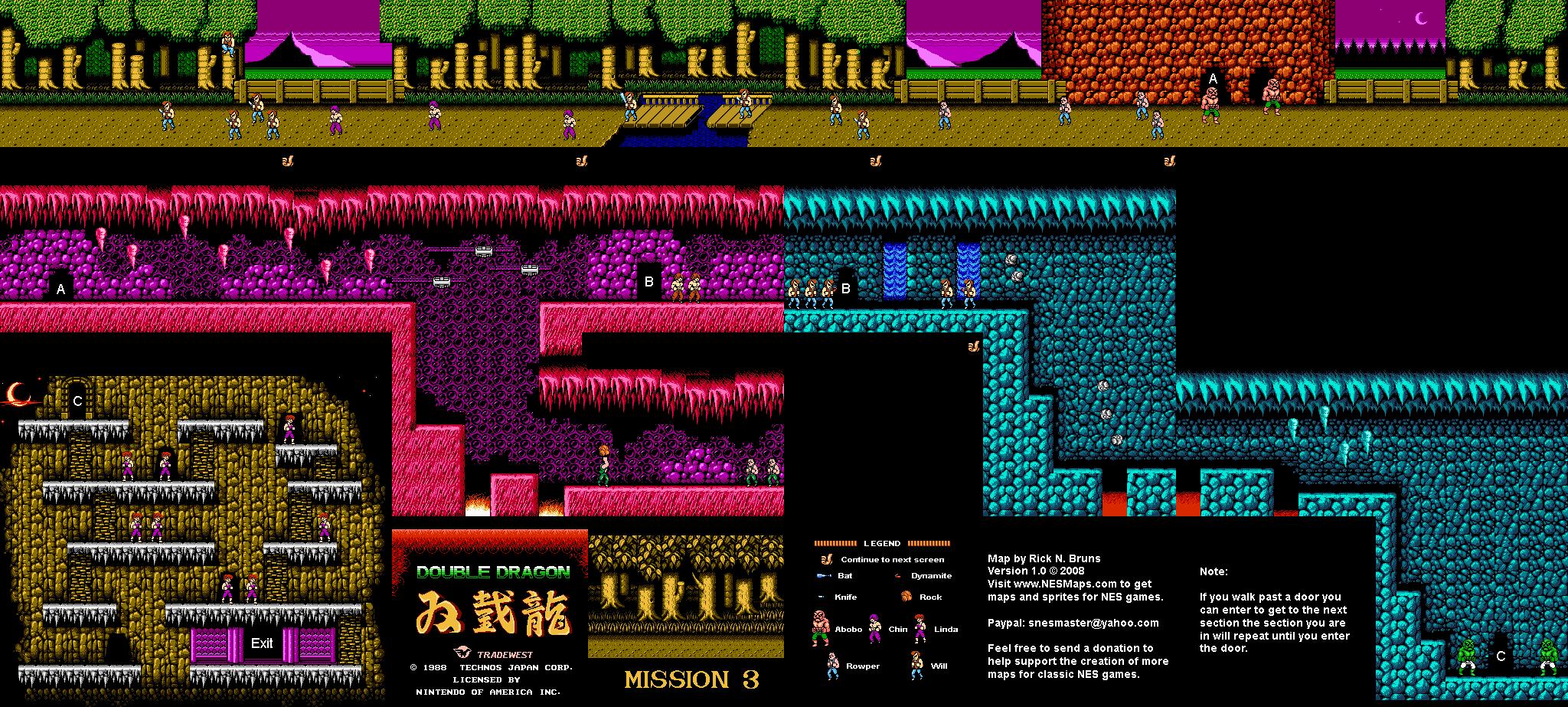 Double Dragon - Mission 3 Nintendo NES Map