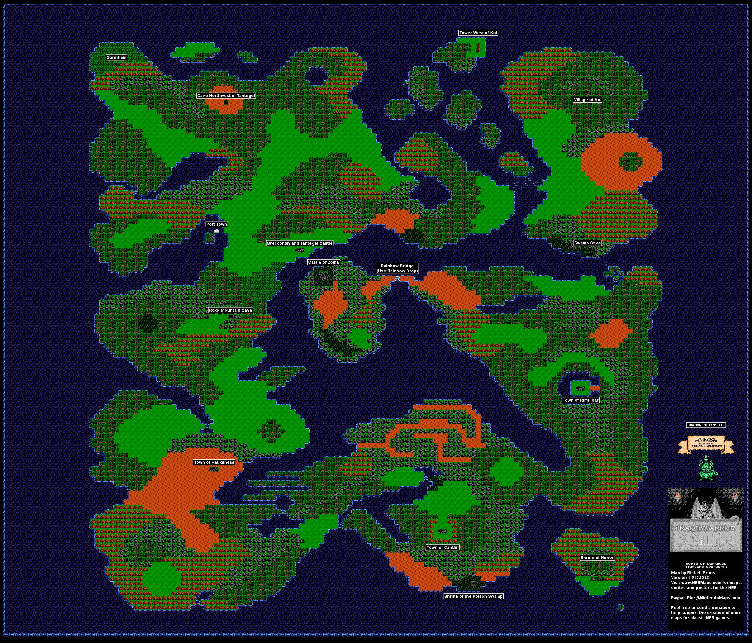 Dragon Warrior World Map Dargon Warrior III   World of Darkness Alefgard Overworld Nintendo