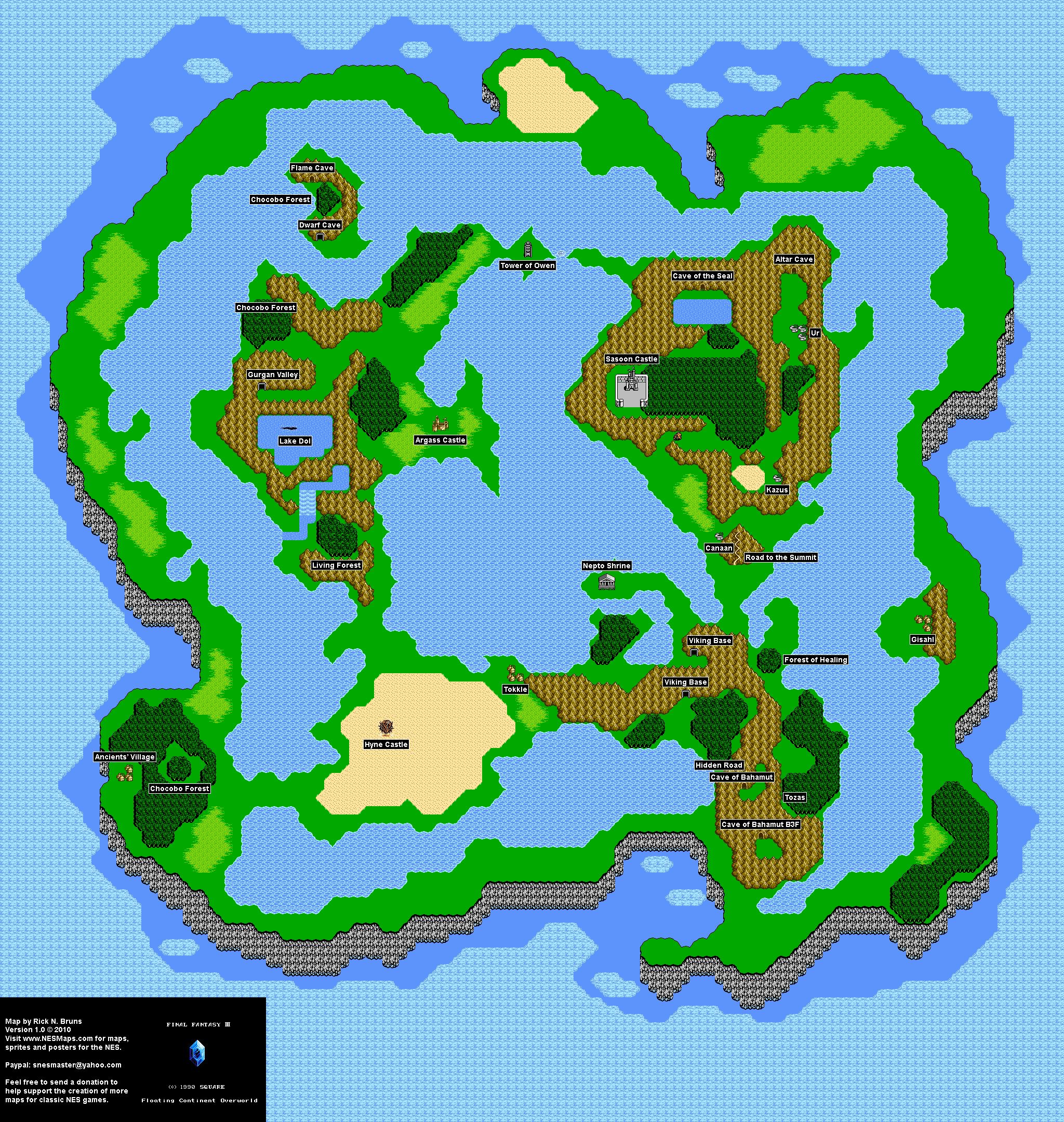 Final Fantasy III 3j Floating Continent Overworld Nintendo NES Map