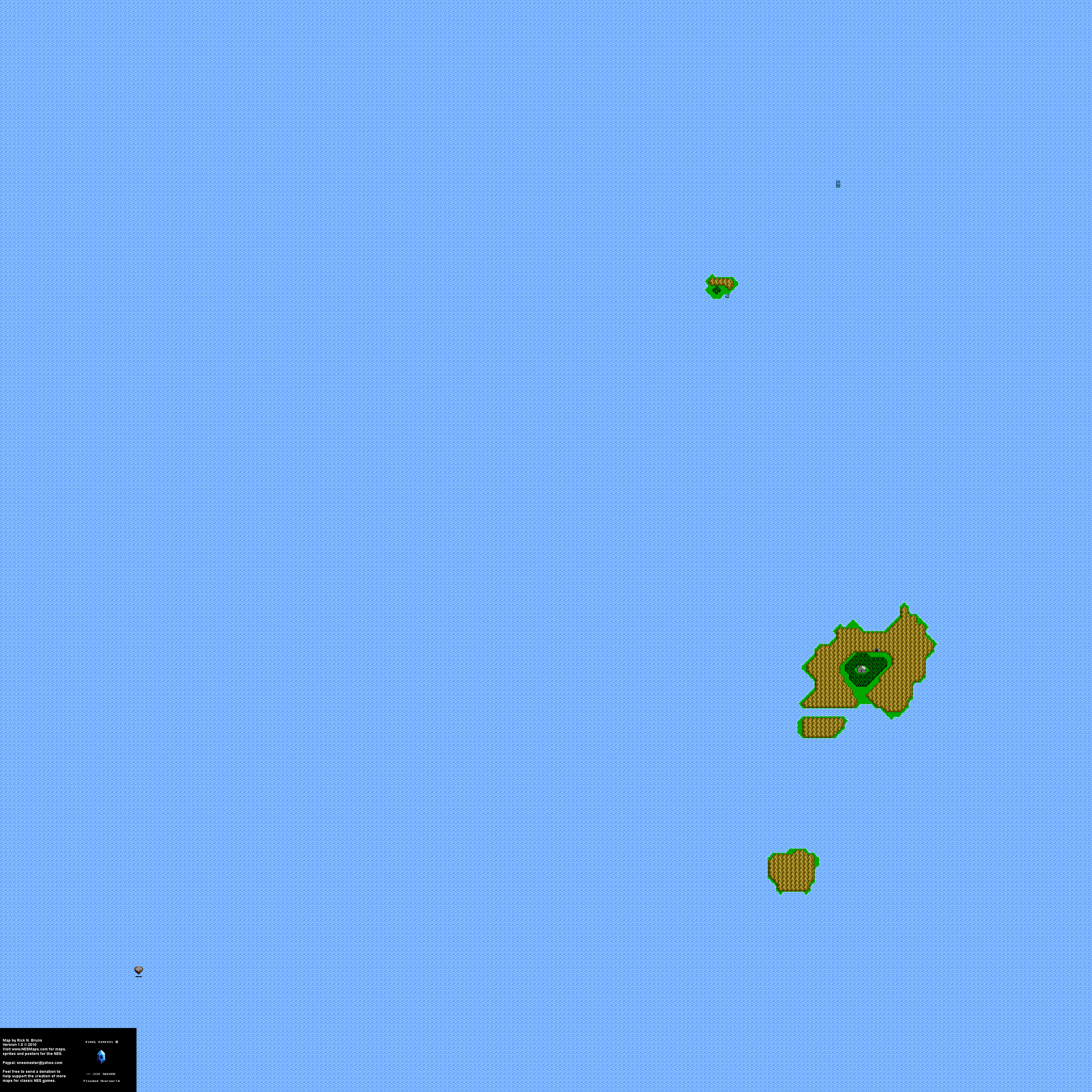 Final Fantasy III 3j - Flooded Continent Overworld Nintendo NES Map BG