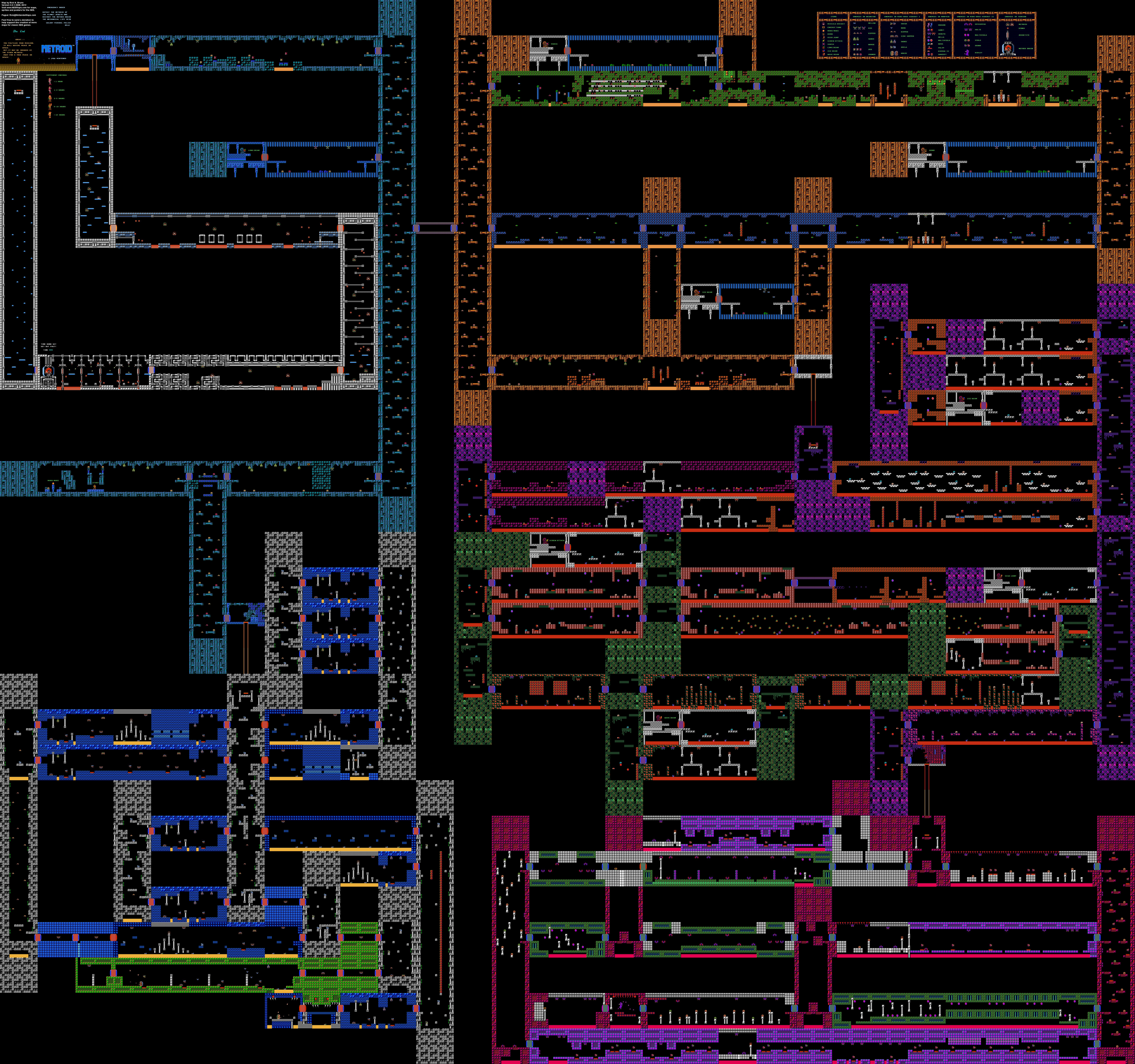 Metroid - Planet Zebes - Nintendo NES Map