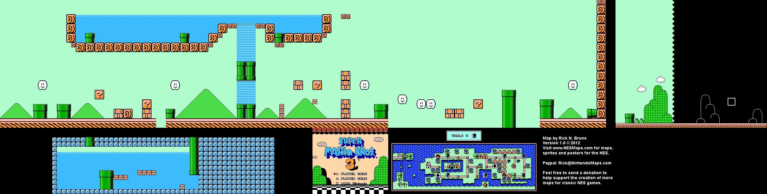 Super Mario Brothers 3 World 4 1 Nintendo Nes Map Bg