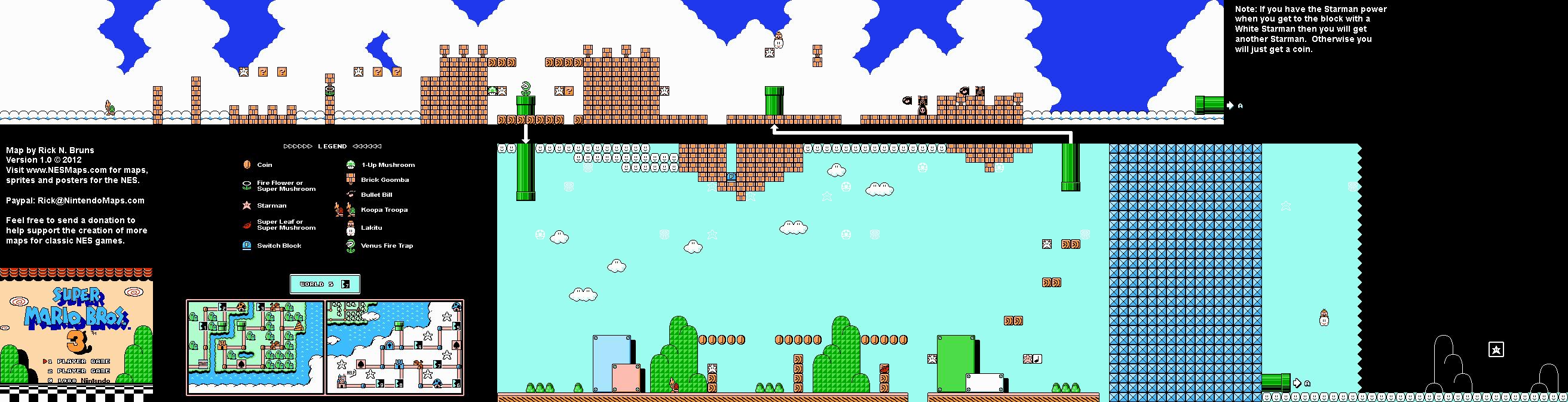 Mario 3 World Map.Super Mario Brothers 3 World 5 7 Nintendo Nes Map