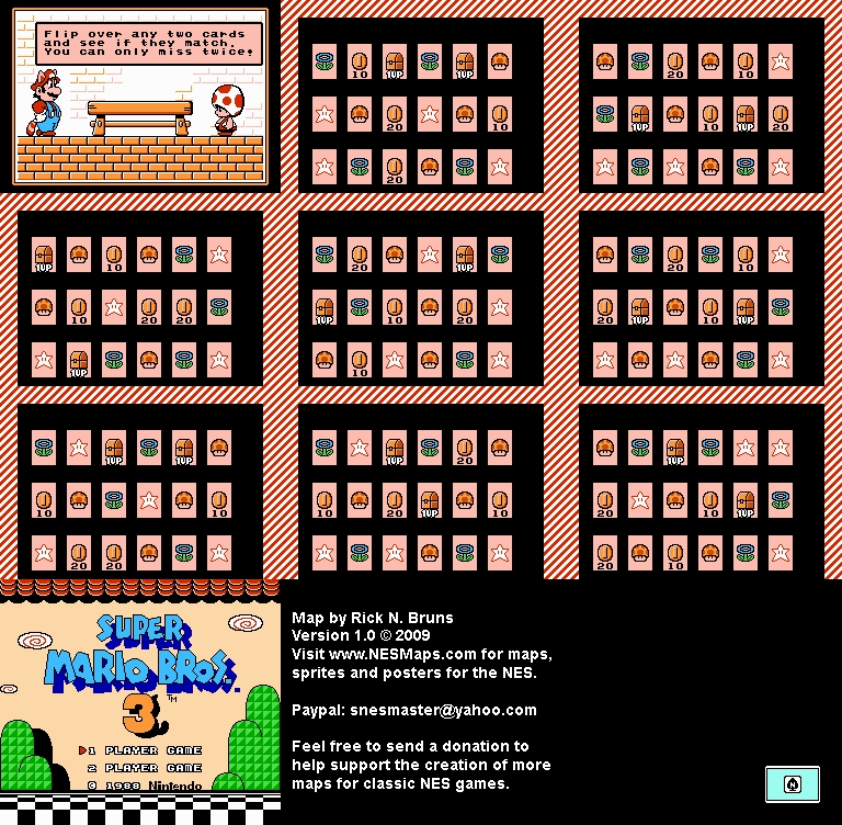 Super Mario Brothers 3 - Memory Match Nintendo NES Map