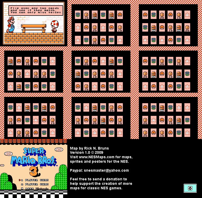 <b>Super Mario Brothers 3</b> - Memory Match Nintendo NES Map