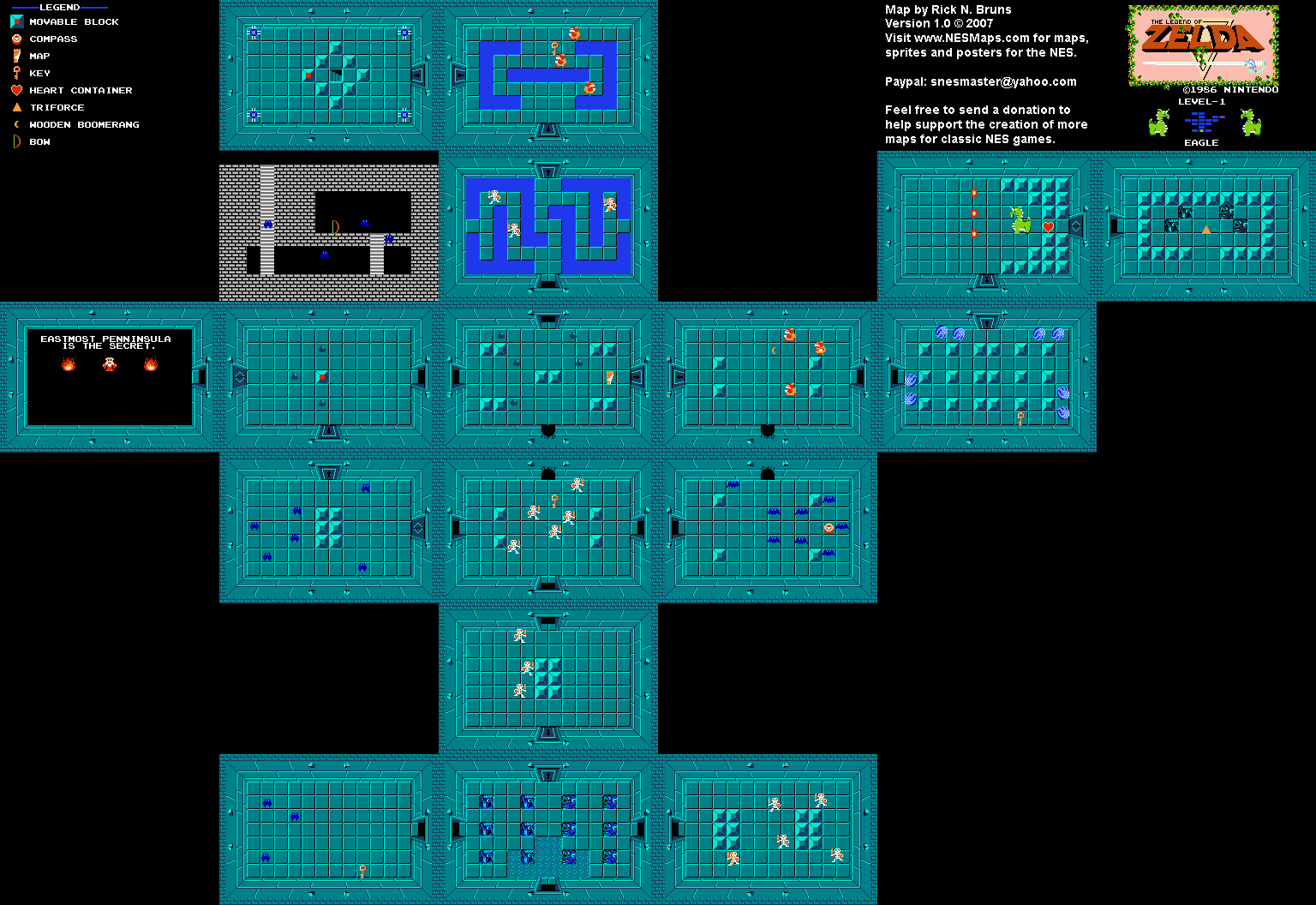 The Legend of Zelda - Level 1 Eagle Quest 1 Map