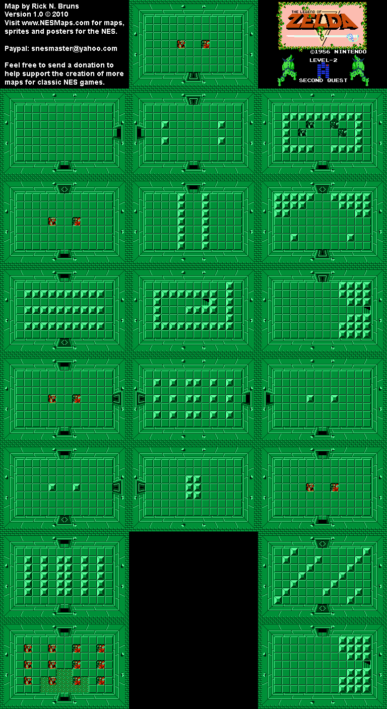 The Legend of Zelda - Level 2 Quest 2 Map BG