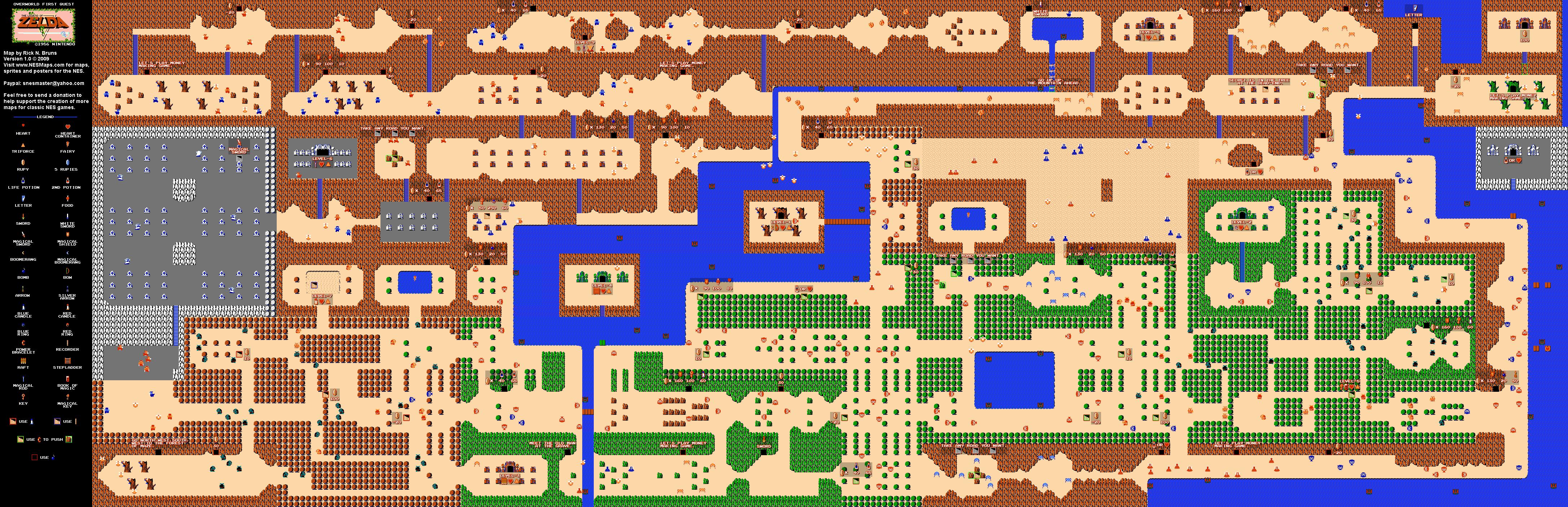 The Legend of Zelda Overworld Quest 1 Map