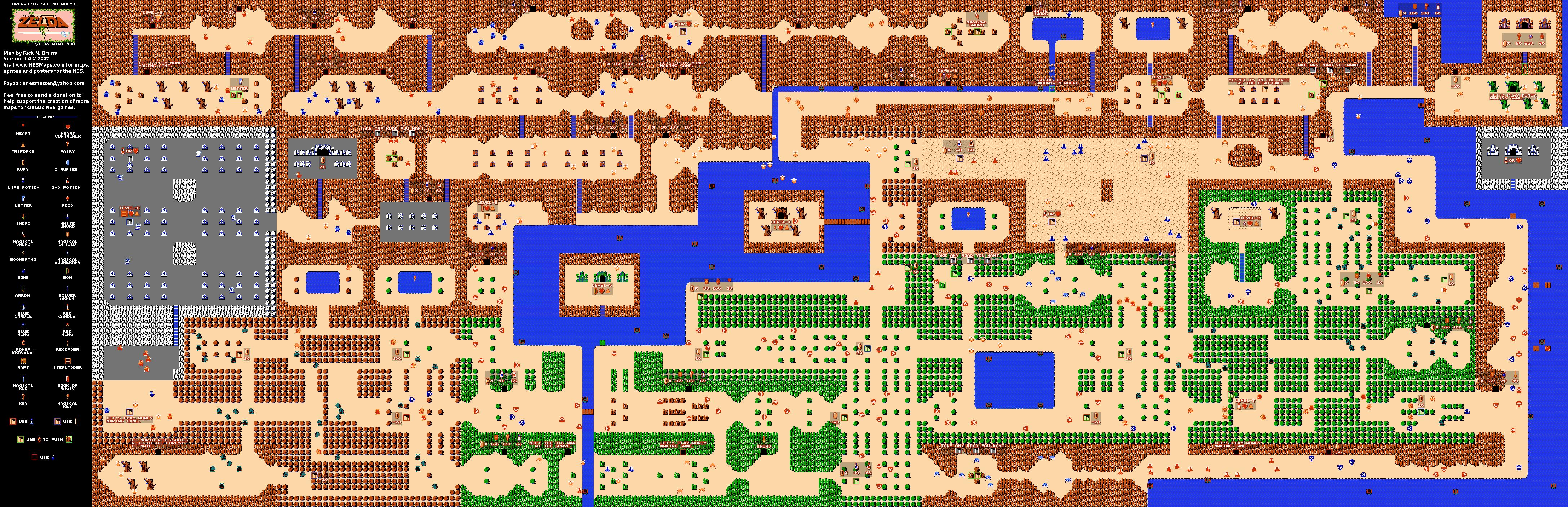 The Legend of Zelda Overworld Quest 2 Map